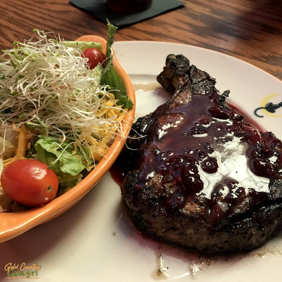 pork chop and salad at Cafe Alley Ardmore Oklahoma