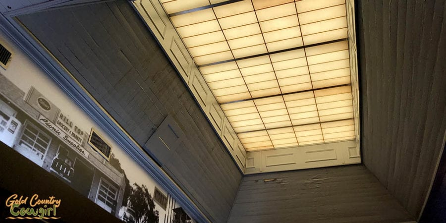 skylight and old photo at Cafe Alley Ardmore Oklahoma