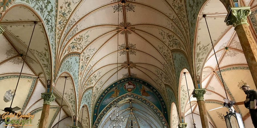 ceiling of a Painted Church, one of the best places to visit in Schulenburg, Texas