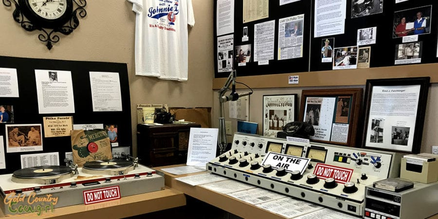 radio broadcasting equipment on exhibit at Texas Polka Music Museum, a unique place to visit in Schulenburg, Texas