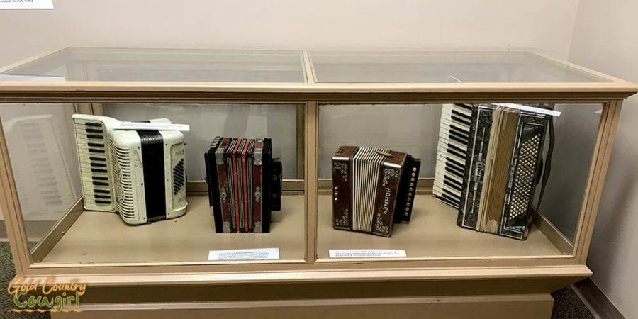 accordions on exhibit at Texas Polka Music Museum in Schulenburg, Texas