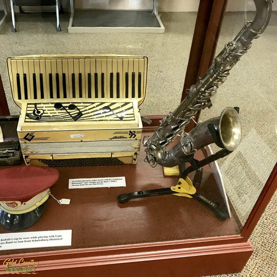 accordion and saxaphone on display at Texas Polka Music Museum in Schulenburg, Texas