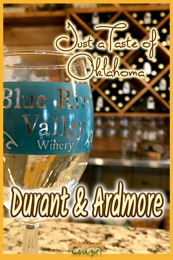 wine glass with text overlay: Just a taste of Oklahoma Durant and Ardmore