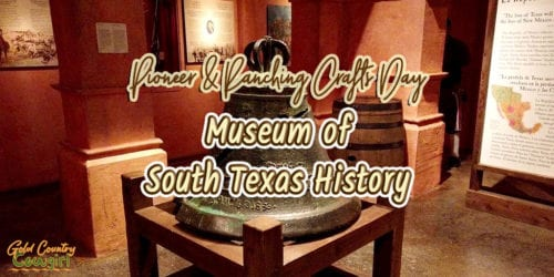 large cracked bell with text overlay: Pioneer & Ranching Crafts Day Museum of South Texas History