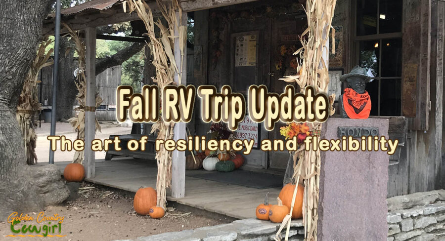 Old building with fall decorations with text overlay: Fall RV Trip Update