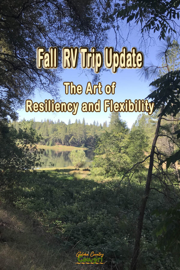 Outdoor scene of trees and blue sky with text overlay: Fall RV Trip Update